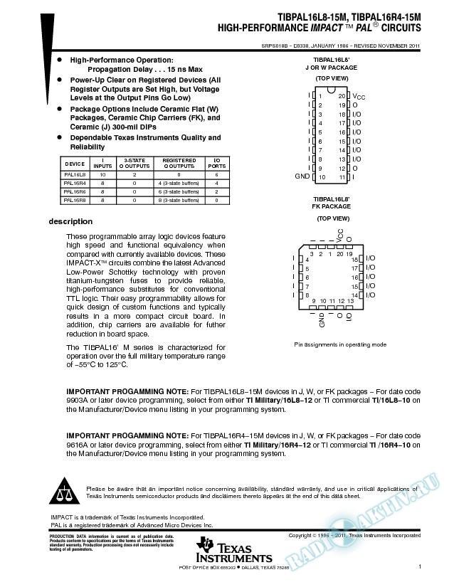 High-Performance Impact Programmable Array Logic  Circuits.. (Rev. B)