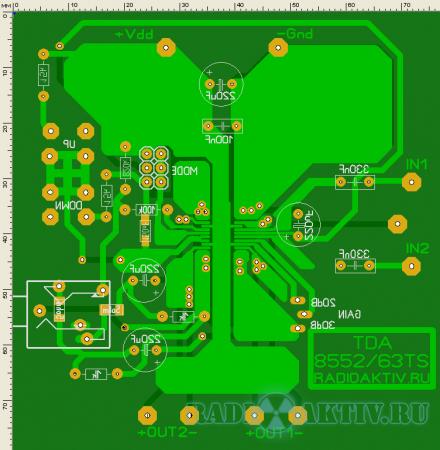Стереоусилитель 2x1.4 Вт с электронным управлением на TDA8552