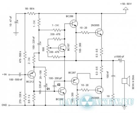 Усилитель мощности 60Вт на 2N3055