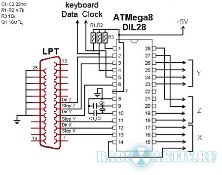 Простой трёхосевой контроллер униполярных шаговых двигателей на AtMega 8