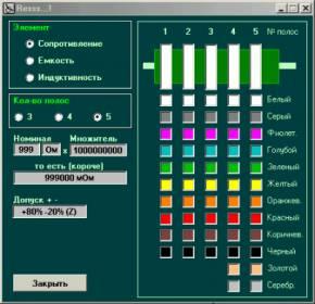 Resss определение номиналов по цветовой маркировке