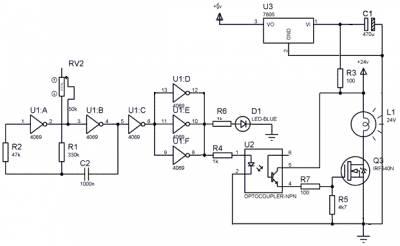 Схема мигалки для автомобиля с бортовой сетью 24В