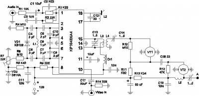 Принципиальная схема передатчика видеосигнала