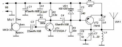 Простой передатчик микрофонного сигнала на 20-30м