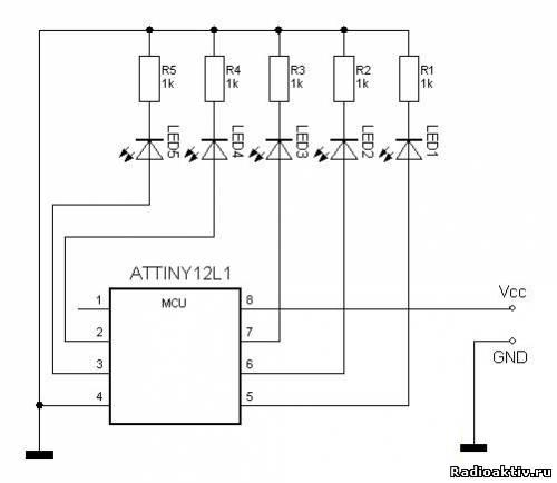 Бегущий огонь на ATTiny12 и пяти светодиодах