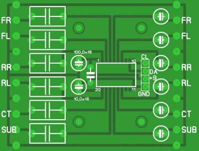Рисунок печатной платы блока регулятора на TDA7448