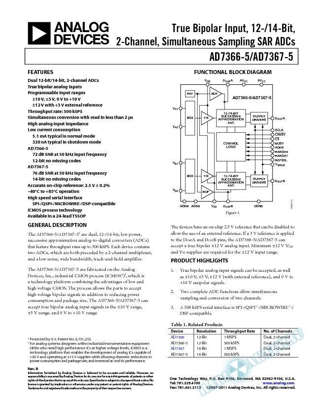AD7366-5/AD7367-5