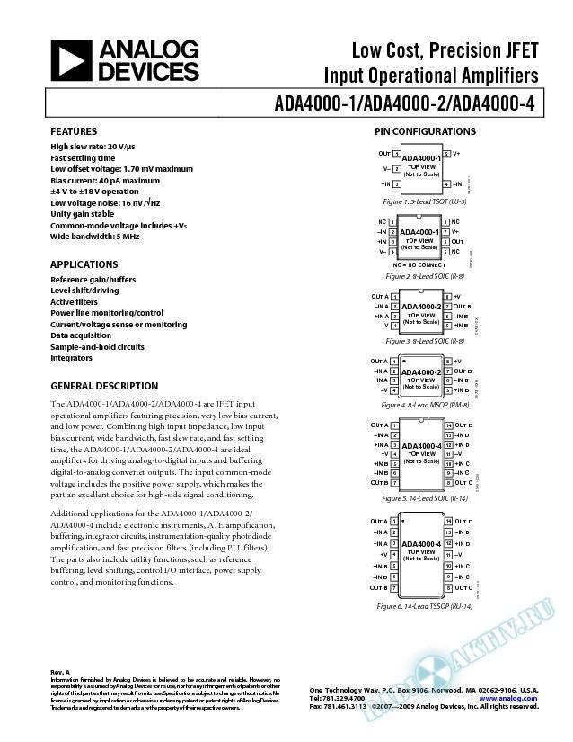 ADA4000-1/ADA4000-2/ADA4000-4