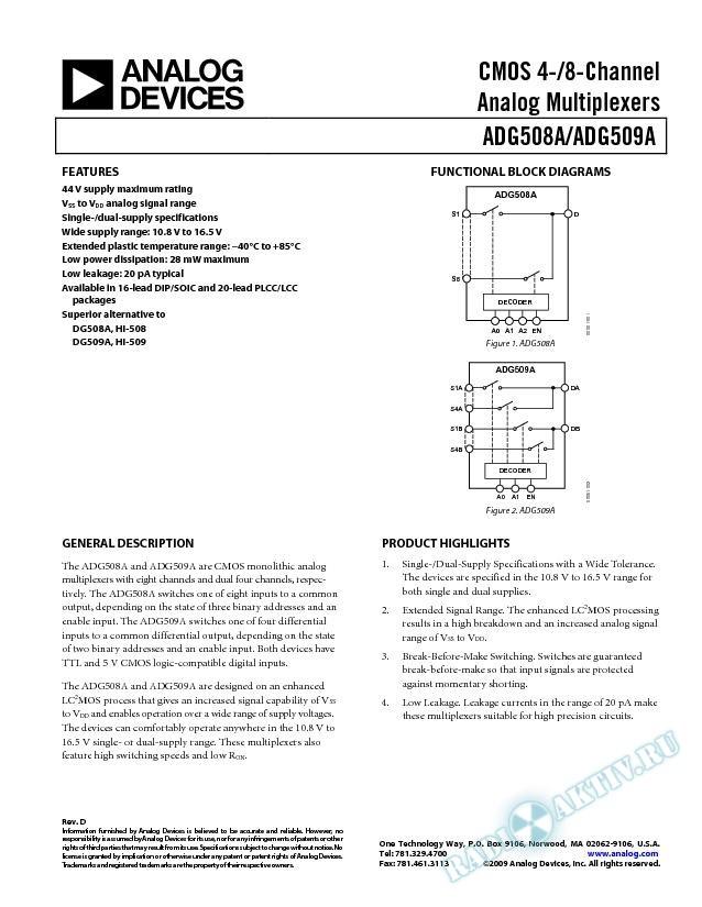 ADG508A/ADG509A