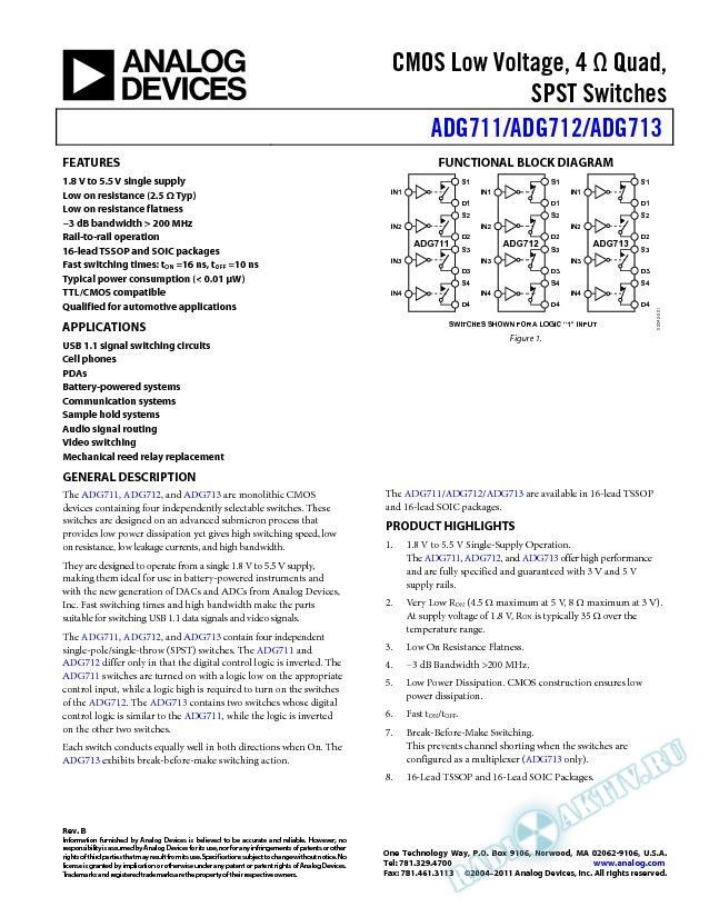 ADG711/ADG712/ADG713