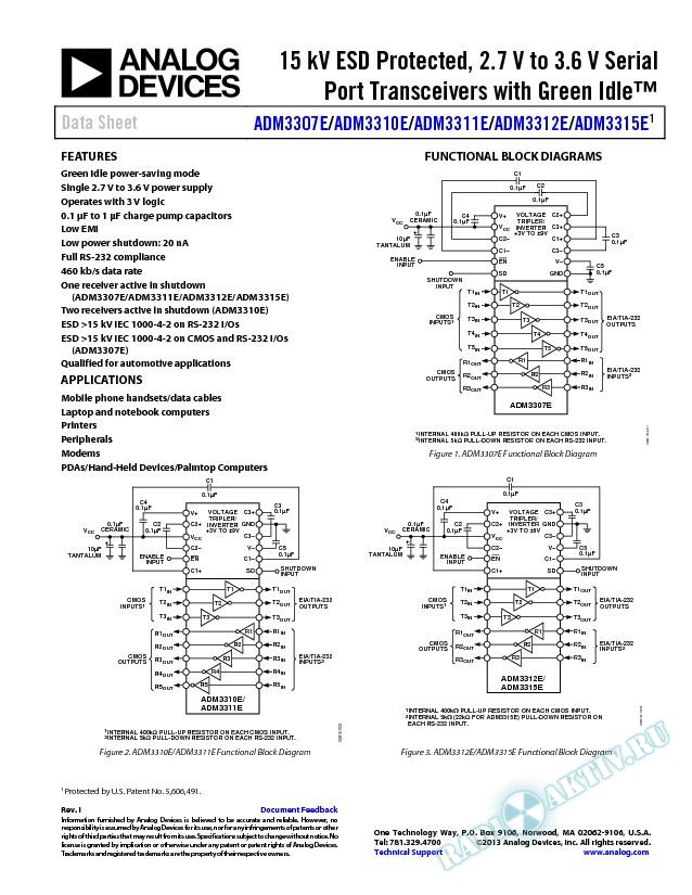ADM3307E/ADM3310E/ADM3311E/ADM3312E/ADM3315E