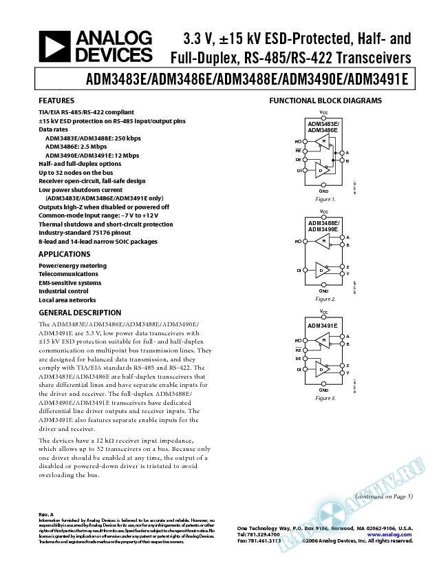 ADM3483E/ADM3486E/ADM3488E/ADM3490E/ADM3491E