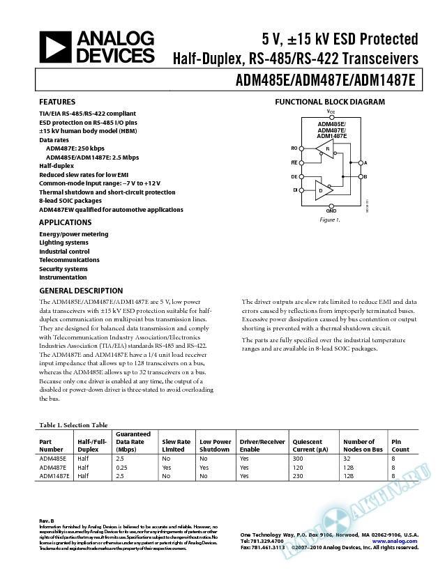 ADM485E/ADM487E/ADM1487E