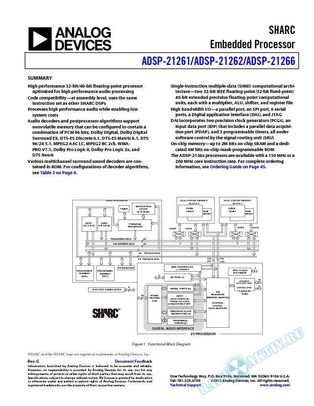 ADSP-21261/ADSP-21262/ADSP-21266