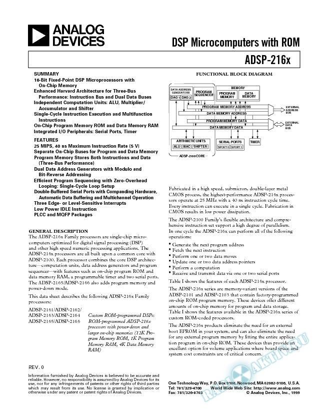 ADSP-2161/ADSP-2162/ADSP-2163/ADSP-2164/ADSP-2165/ADSP-2166