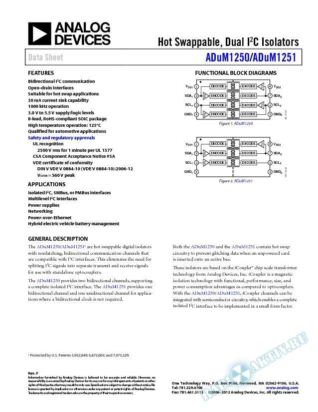ADuM1250/ADuM1251