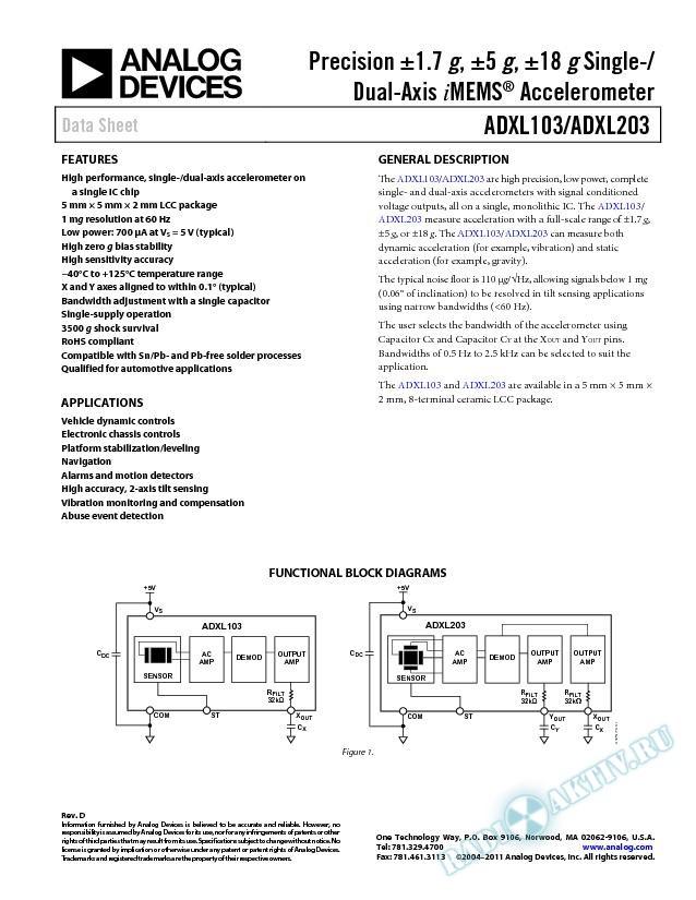 ADXL103/ADXL203