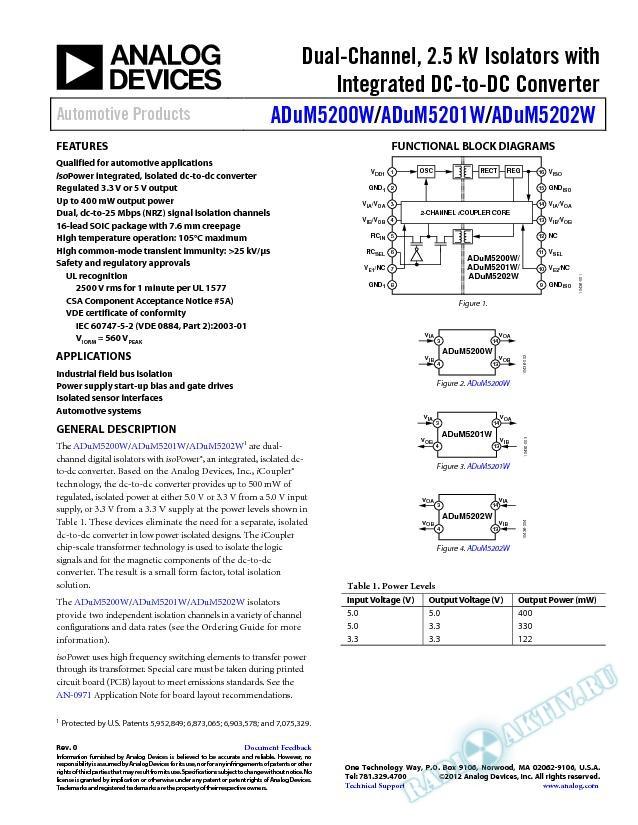 ADuM5200/ADuM5201W/ADuM5202W
