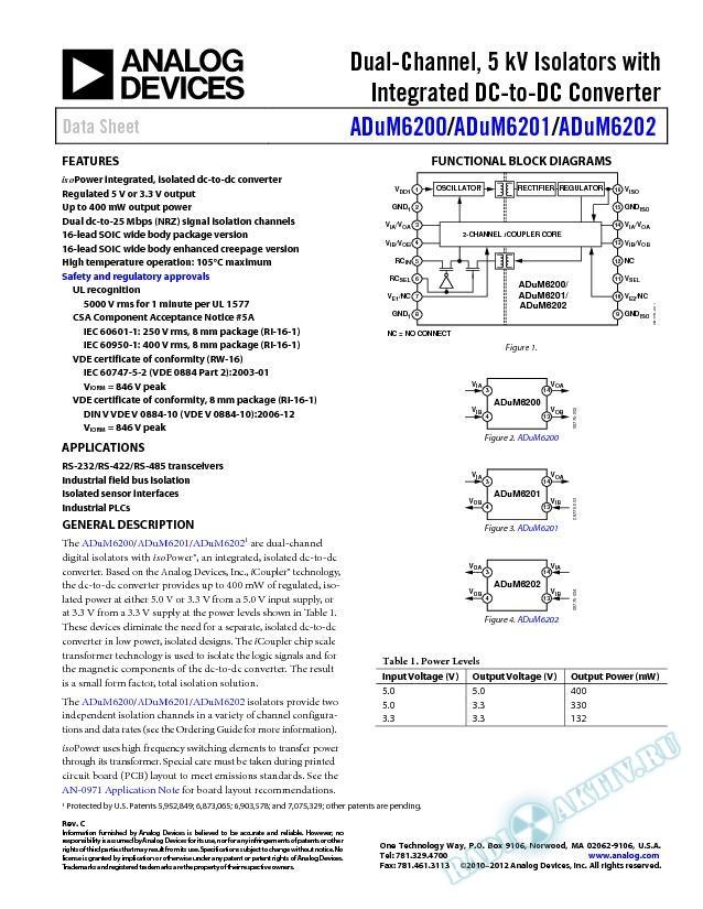 ADuM6200/ADuM6201/ADuM6202
