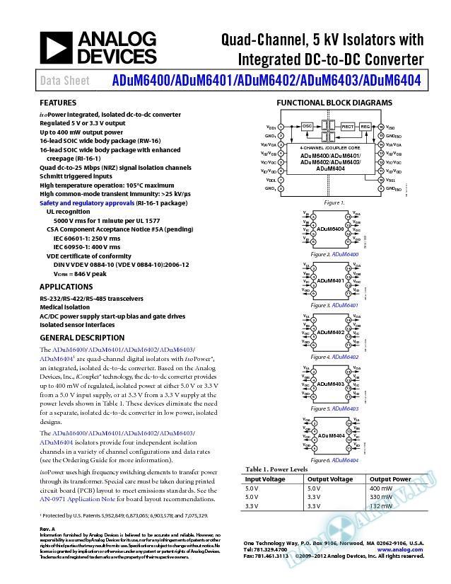 ADuM6400/ADuM6401/ADuM6402/ADuM6403/ADuM6404