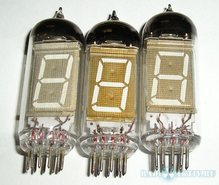 ИВ-12 Миниатюрный вакуумный люминесцентный цифровой индикатор триодного типа с катодом прямого накала.