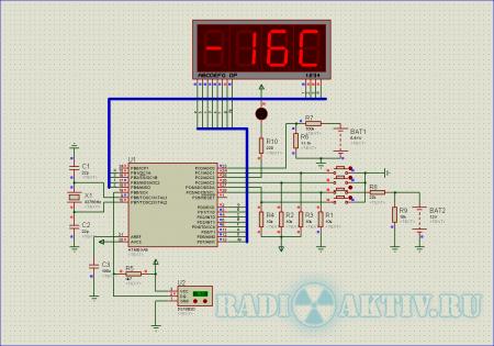Часы, вольтметр и термометр для автомобиля на AtMega8.