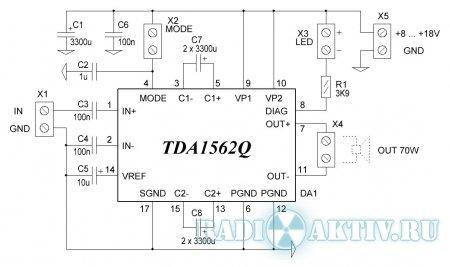 Автомобильный усилитель 70 Вт на TDA1562Q