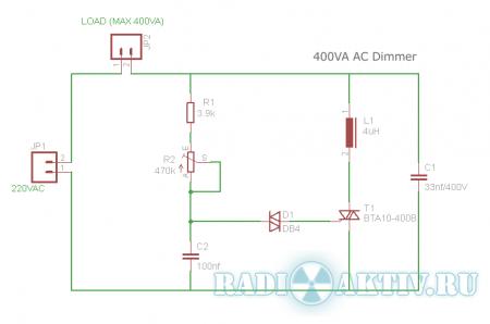 Простая схема диммера на тиристоре для управления нагрузкой до 400ВА, используется в сети переменного...
