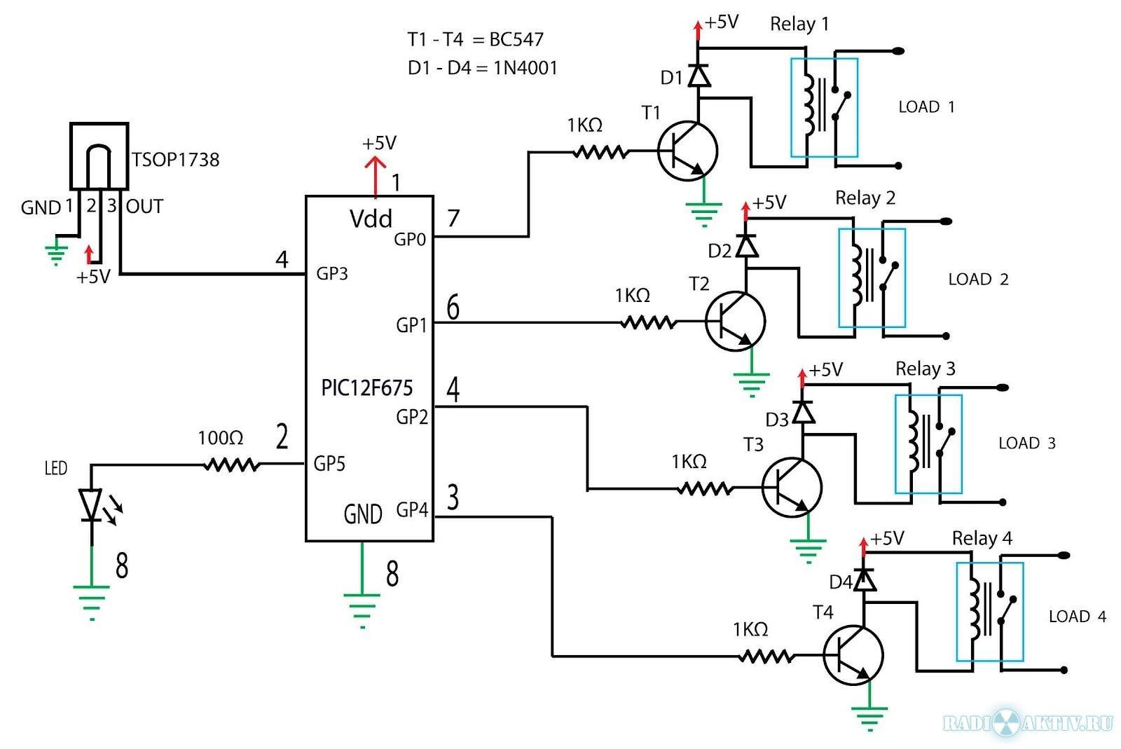 ИК управление четырьмя нагрузками с использованием NEC протокола ...