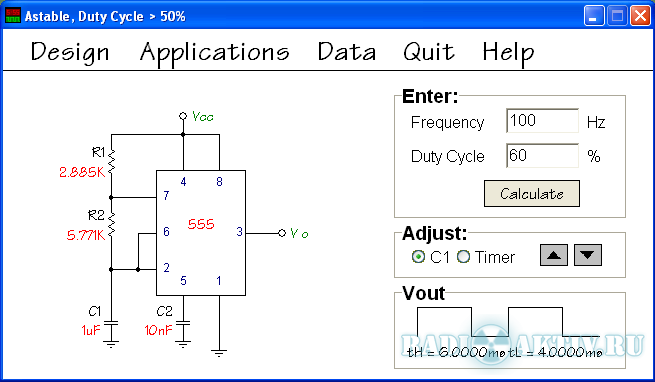 555 Timer Calculator - cxem.net