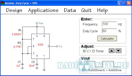 555 Timer Designer Free - программа для расчёта схем на 555 таймере