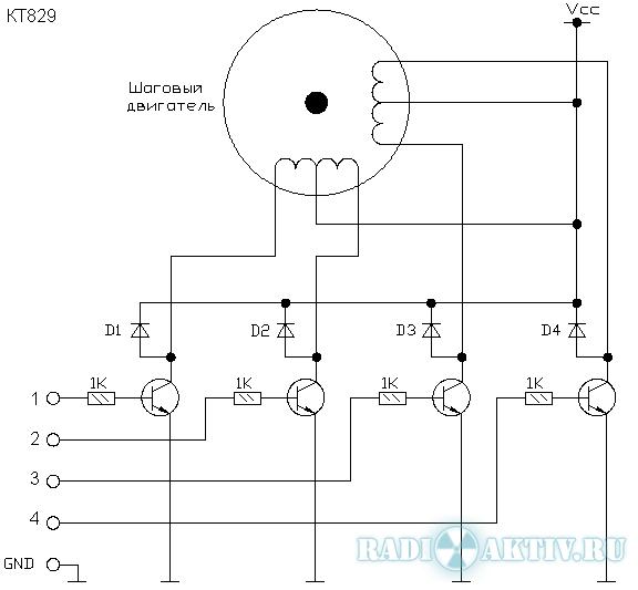 Схема драйвера на шаговый мотор