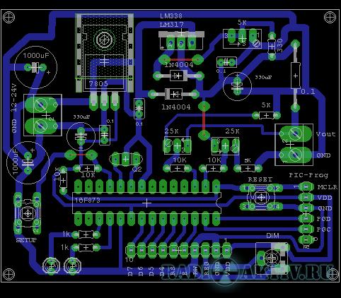 Схема ампервольтметра на микроконтроллере pic16f873